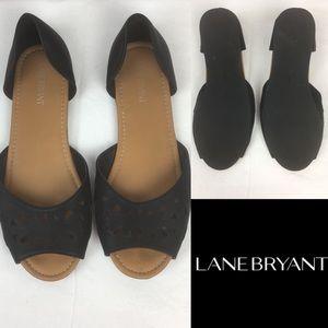 Lane Bryant Black Man Made Leather Wide flats
